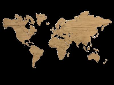 Weltkarte aus Eichenholz