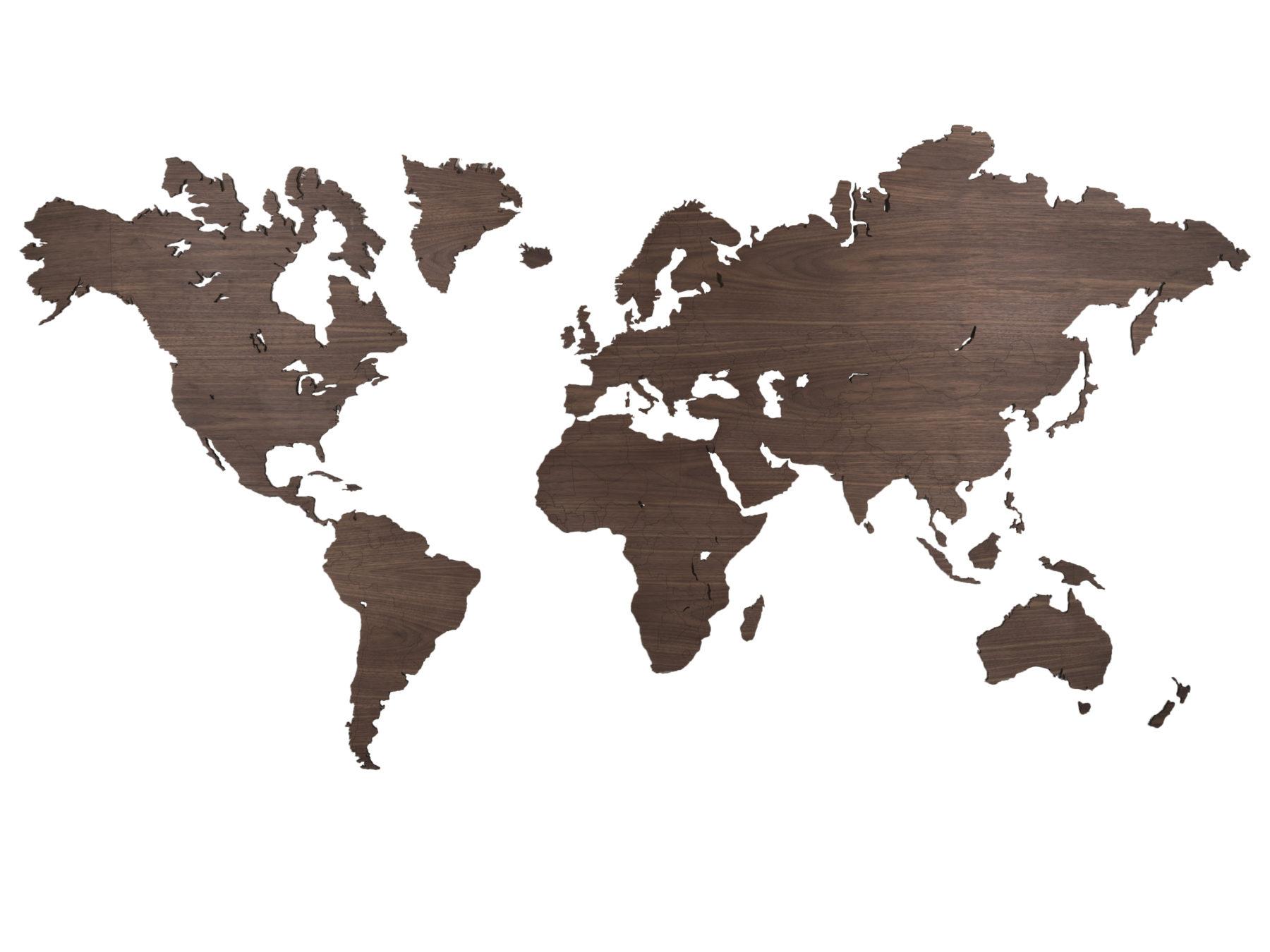 Weltkarte aus Nussbaum