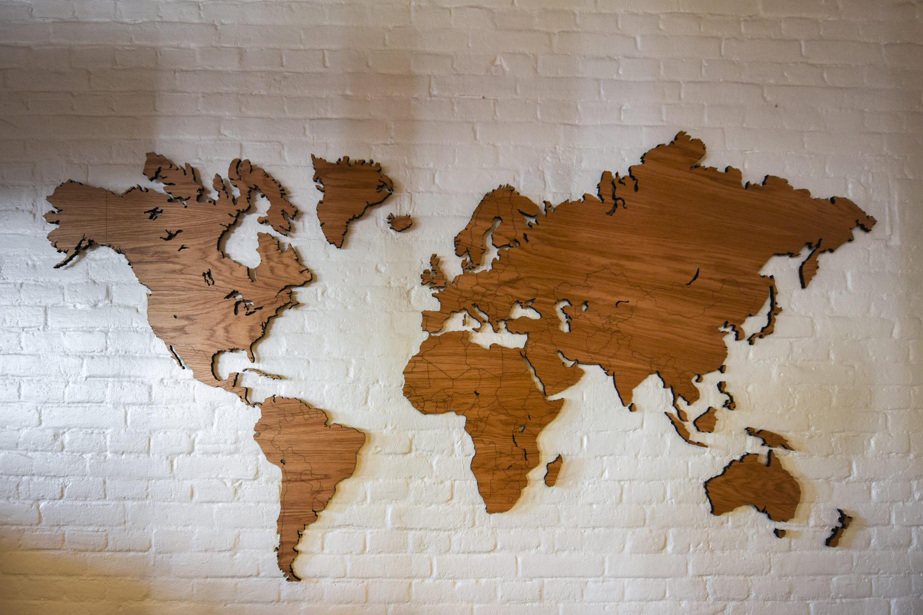 Wunderschön Weltkarte Wand Galerie Von Aus Eichenholz