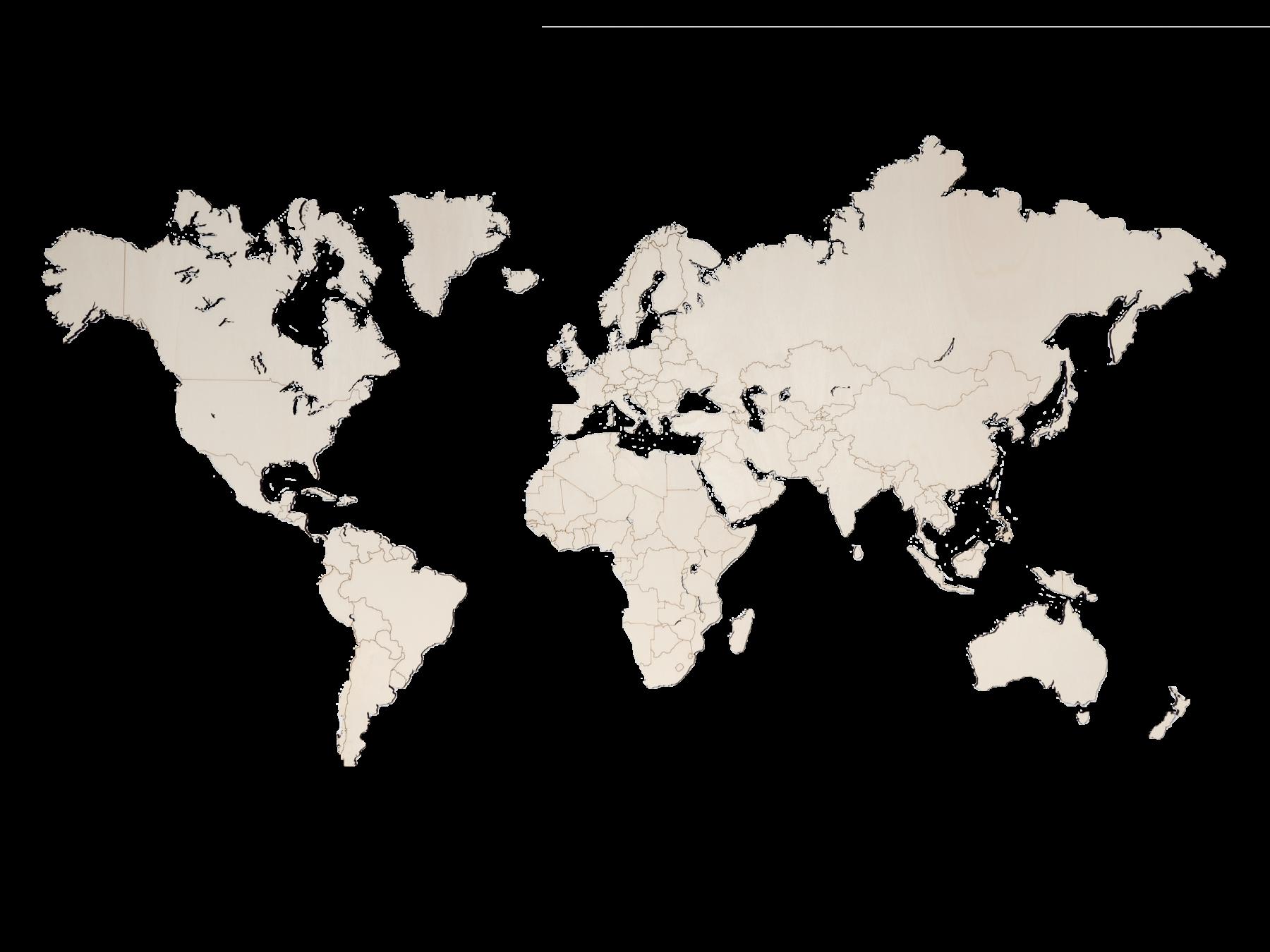Weltkarte aus Pappelholz