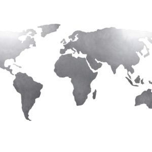 Weltkarte aus edelstahl